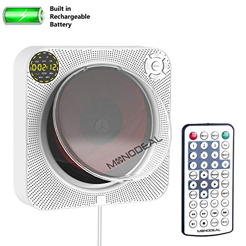 Rechargeable Portable DVD CD Player with Bluetooth, Wall Mounted CD Player Home Music DVD Player with Speaker and Remote Control and Dust Cover, Support HDMI/USB/AV Output for TV/Monitor/Projector