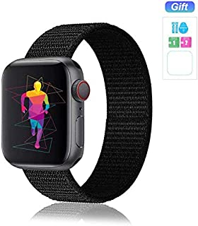 Nylon Band Compatible for Apple Watch Band 38MM 40MM 42MM 44MM, Soft Lightweight Breathable Nylon Replacement Sport Strap Compatible for Apple Watch iwatch Series 5/4/3/2/1