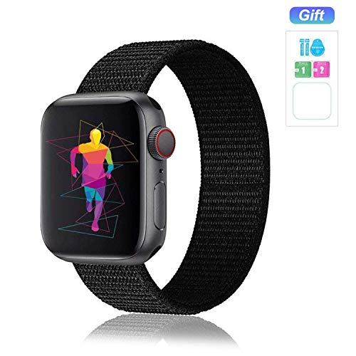 Nylon Band Compatible for Apple Watch Band 38MM 40MM 42MM 44MM, Soft Lightweight Breathable Nylon Replacement Sport Strap Compatible for Apple Watch iwatch Series 5/4/3/2/1 (42MM/44MM, Dark Black)