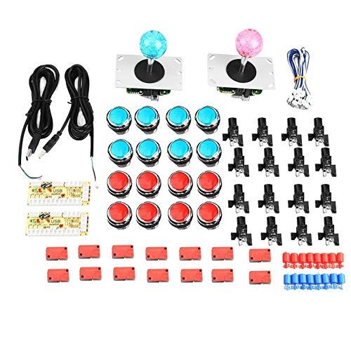 Nrpfell DIY Arcade Kit 2X Jugadores Codificador USB para Joystick Juegos de PC Joystick para Mame KOF SNK Juegos de Lucha