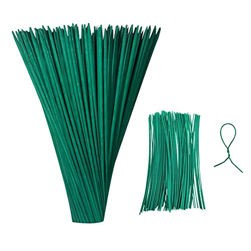 LEFUBABY 50 Pieces 35cm Green Wood Plant Stake Floral Plant Support Wooden Sign Posting Garden Sticks with 100 Pieces 15 cm Long Green Metallic Twist Ties for Lengthen Short Flower Greenery Stems etc