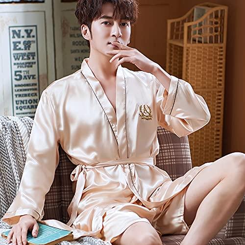 DEWUFAFA Camisón de satén para Hombre Ligero de Manga Larga Kimono de Seda de Seda con Shorts Set Pijama (Color : E, Size : XX-Large)
