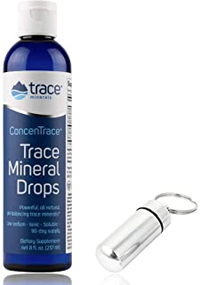 Trace Minerals Research - Concentrace Trace Mineral Drops, 8 fl oz Liquid (8oz with Bonus Mineral Drops Keychain Holder)