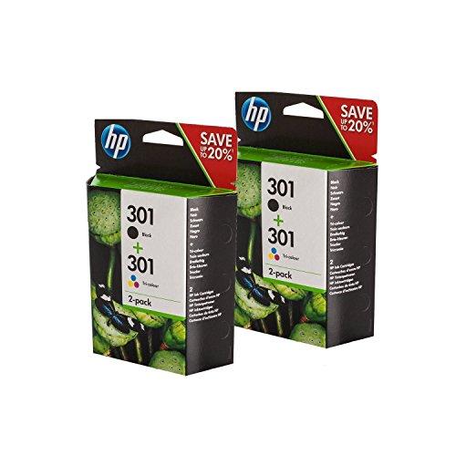 Original HP N9J72AE / 301, für Envy 4504 e-All-in-One 4X Premium Drucker-Patrone, Schwarz, Cyan, Magenta, Gelb, 2x190, 2x165 Seiten