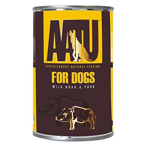 AATU 90/10 Hundefutter Nass Getreidefrei - Schwein mit Wildschwein, Hoher Fleischanteil, Nassfutter ohne künstliche Geschmacksverstärker, 6 x 400g
