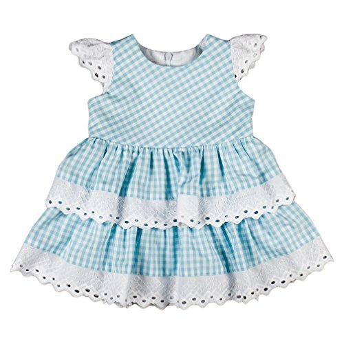 MMdadak Babykleid Kleid Sommerkleid Landhausstil Stickerei hellblau weiß kariert Bavaria (74)