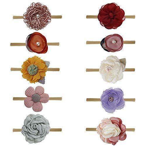 Baby Haarband,Czoele 10 Stück Cute Baby Stirnbänder Mädchen stirnband mit elastsichem,Blumen Blüte Haarschmuck Weich Kopfband Neugeborenen Headwrap für Kinder Babyschmuck schmuck