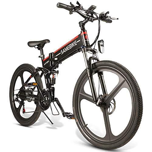 OUXI LO26 Mountain Bike elettrica, Bici elettrica Pieghevole per Adulti 26 Pollici 10,4 Ah 350 W 48 V con Bicicletta ciclomotore Shimano 21 velocità per Uomo Donna pendolarismo Urbano-Nero