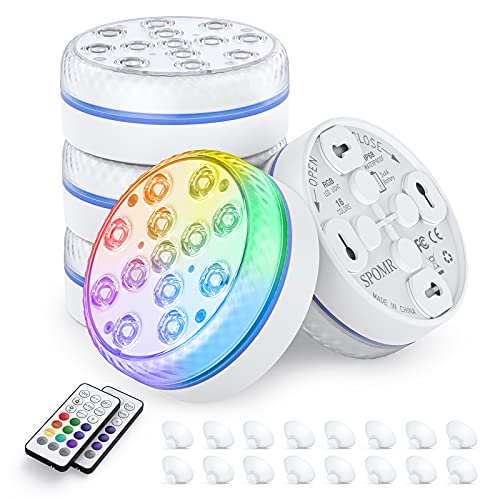 SPOMR Submersible LED Lights Waterproof IP68, Underwater Pool Lights with RF Remote 13 Bright Beads 16 RGB Color, with Magnets /Suction Cups Battery Operated Shower Light for Pool/Pond/Party Decor (4)