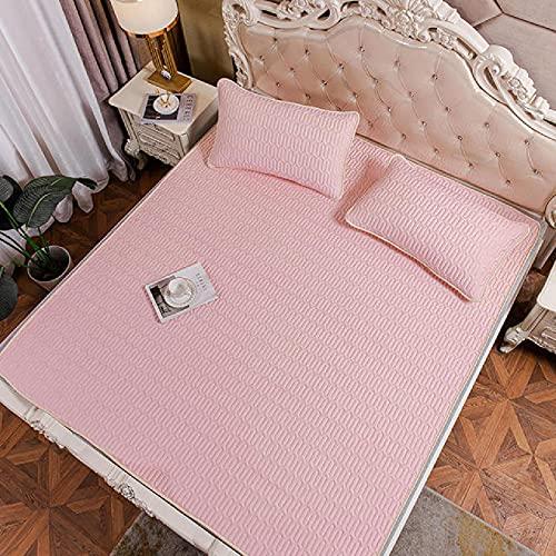 QINGYE Color sólido antideslizante cama protección pad verano fresco suave látex cama Mat para 1.2 m 1.5 m 1.8 m cama colchón cubierta con funda de almohada