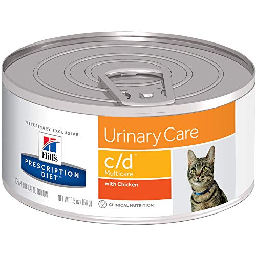 Hill's Prescription Diet c/d Multicare Urinary Care with Chicken Canned Cat Food, 5.5 Oz, 24-Pack Wet Food, White (6238)