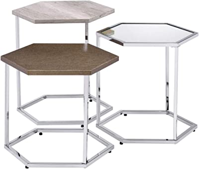 Acme Furniture Simno Nesting Tables, Clear Glass, Taupe, Gray Washed & Chrome Finish