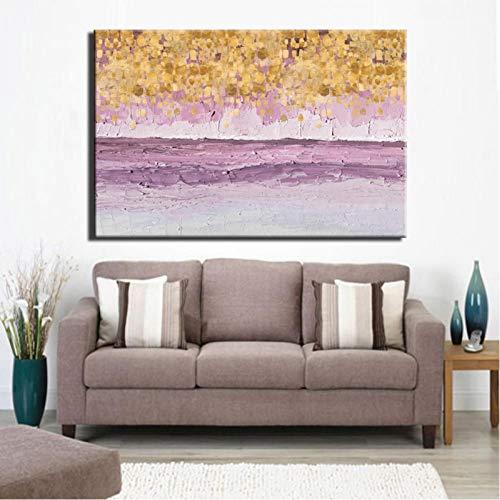 TBWPTS Canvas Schilderij Moderne abstracte poster gouden geld zee golf schilderij prints canvas kunst aan de muur foto's woonkamer home decor