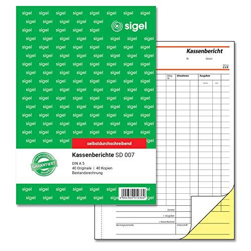 SIGEL SD007 Kassenbericht / Bestandsrechnung A5, 2x40 Blatt, selbstdurchschreibend, 1 Stück