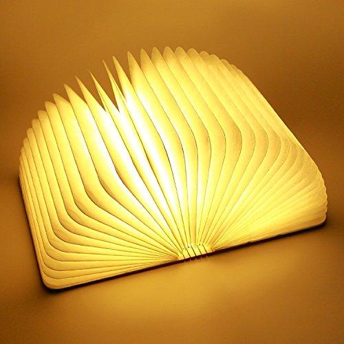 Luce notturna a LED a forma di libro pieghevole, con 4 varianti di colore, cavo di ricarica USB e funzione decorativa e d'atmosfera, legno, Größe 21,4x 17x 2,3CM