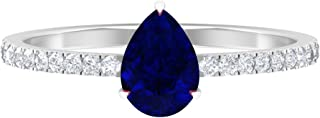 Anello in zaffiro blu con taglio a pera, 5 x 7 mm, con diamante HI-SI, anello di fidanzamento a goccia, anello di fidanzam...