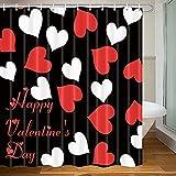 MERCHR Red and Black Shower Curtain, Romantic Heart Lovers Bath Curtain Set with 12 Hooks, Valentine's Love Bathroom Decorative Fabric Bath Curtains, 71x71 Inch