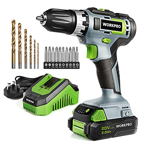 WORKPRO 20V Cordless Drill Driver Lightweight, Double Speed Cordless Combi...