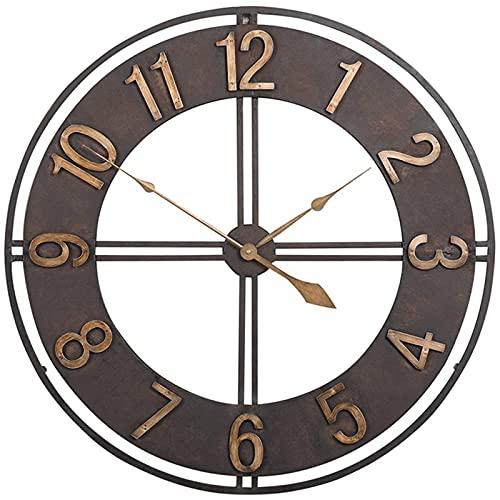 GYCS Al Aire Libre, 23 Pulgadas, Hierro Forjado, Retro, Gran jardín, Reloj Gigante de Cara Abierta, Impermeable, Reloj Exterior, decoración, Reloj Exterior para Interiores y Exteriores, A