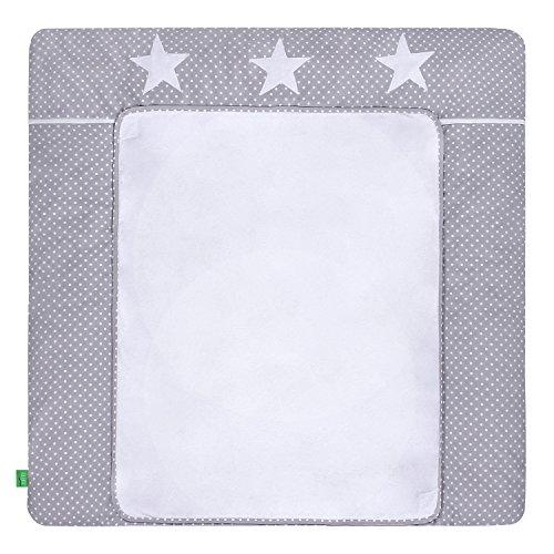 LULANDO Wickelauflage mit 2 abnehmbaren und wasserundurchlässigen Bezügen. 76 x 76 cm. Oberstoff 100% Baumwolle. Passend u.a. für die Kommode IKEA Malm, Farbe: White Dots/Grey Stars