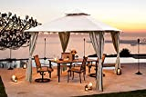 10x10 Patio Gazebo Outdoor Pop up Gazebo with Privacy Curtain, Double Roof Canopy for Shade and Rain,Easy Setup Shelter Canopy for Deck Backyard,Wedding,Garden