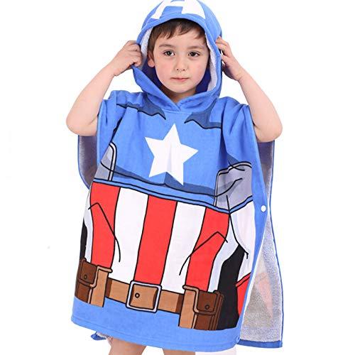 MIAOXI Spiderman Capitán América Toalla con Capucha para Niños Toalla De Baño 100% Algodón Toalla De Playa Albornoz Suave,Captain America-60 * 120cm
