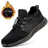 XLYAN Zapatillas Seguridad Safety Shoes Zapatos Protectores De Aislamiento Anti-Rotura Anti-Piercing Invierno Más Terciopelo Antideslizantes Reflexivo,Black-41