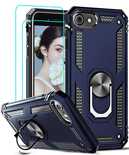 LeYi Compatible for iPhone SE 2020 Case with [2Pack] Tempered Glass Screen Protector, [Military-Grade] Protective Phone Case with Magnetic Ring Kickstand for iPhone SE 2nd Generation (2020), Blue