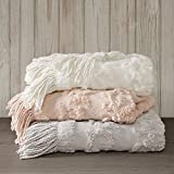 Madison Park Chloe 100% Cotton Tufted Chenille Design with Fringe Tassel Luxury Elegant Chic Lightweight, Breathable Cover, Luxe Cottage Room Décor Summer Blanket, 50' x 60', Blush