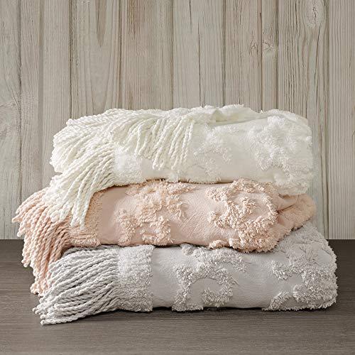 60u0022x50u0022 Mila Cotton Tufted Throw Blanket Gray