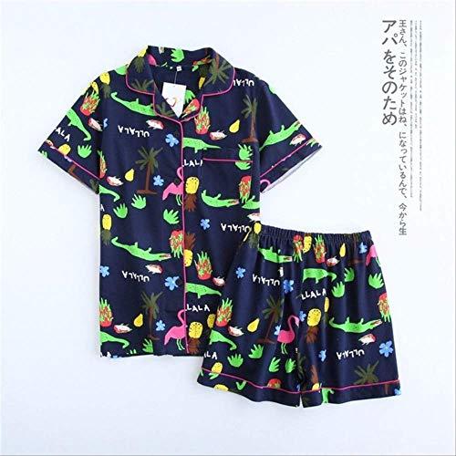 XFLOWR Zomer vrouwen korte mouwen en lange pyjama pak Cartoon Thuis Service Dames Casual pyjama slaapgerei