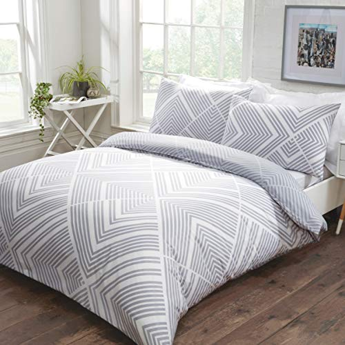 Sleepdown Striped Geometric Grey Reversible Easy Care Duvet Cover Quilt Bedding Set with Pillowcases - Super King (220cm x 260cm)