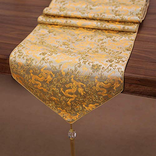 Silk Exquisite Embroidery Printing Tassel Table Runner Chinese Style Tea Table Runner Holiday Table Decoration 280x33cm