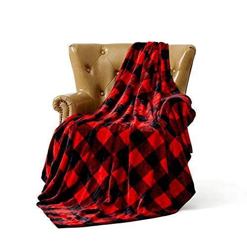 FFLMYUHUL I U Super Soft and Comfortable Blanket Thin Section Warm Year-Round Available Blanket Red Check 50'' X 60''