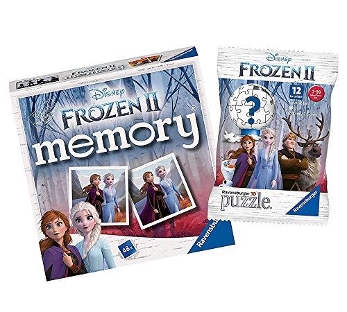 Ravensburger Disney Frozen 20437 - Juego de 2 minijuegos de memoria + bola de rompecabezas 3D de Disney Frozen