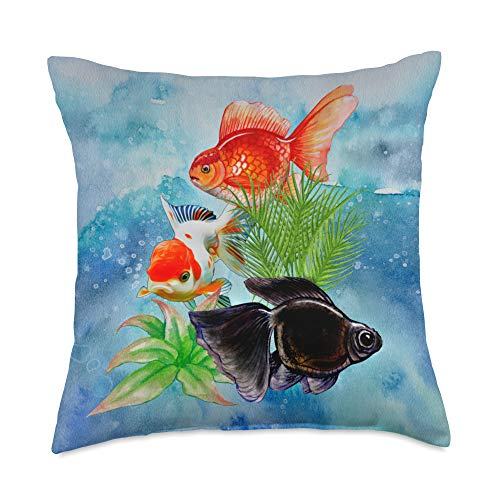 Goldfish Lovers Gifts Fancy Oranda Goldfish Black Moor Ornamental Aquarium Fish Throw Pillow, 18x18, Multicolor