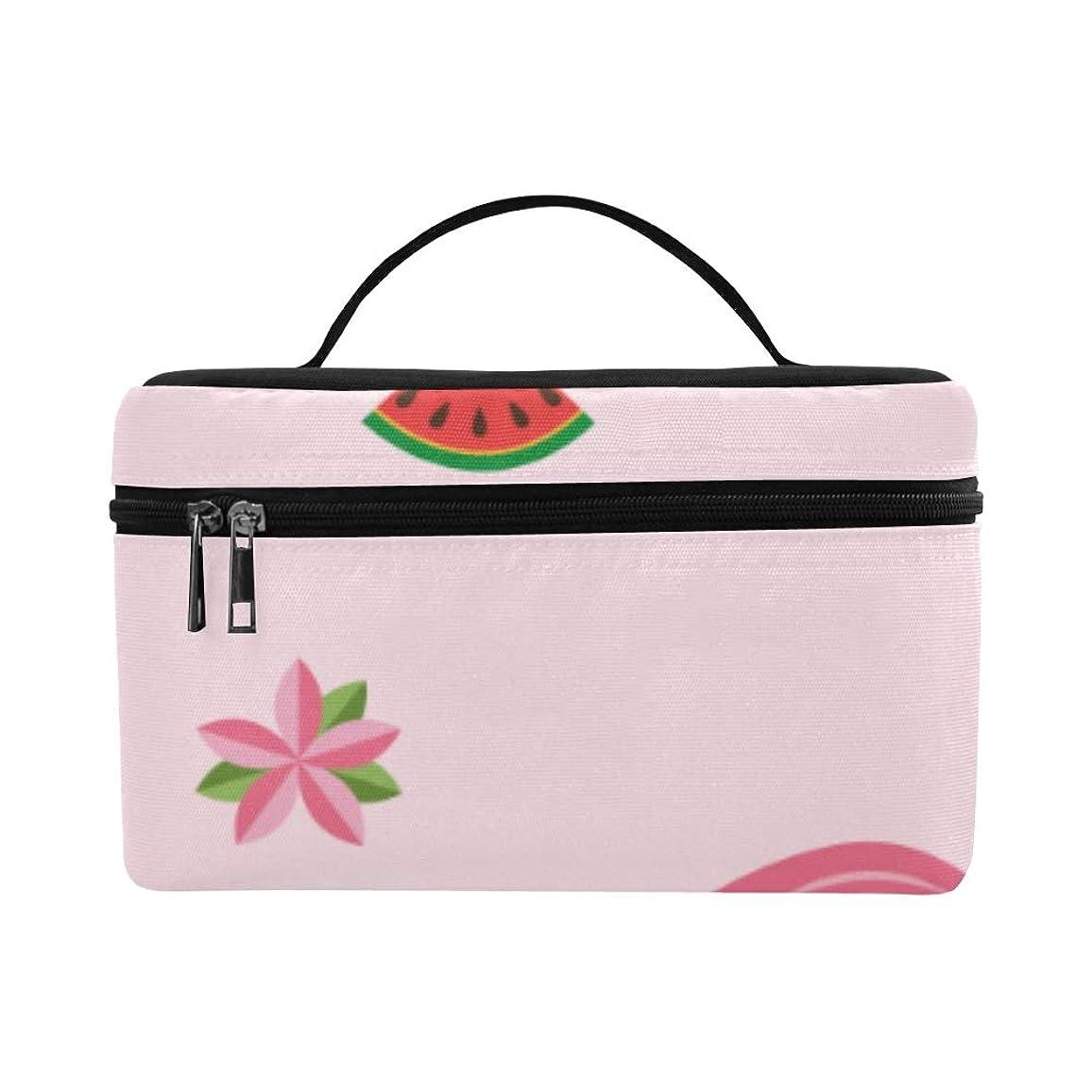 テクニカルバンガローサイドボードDMHYJ メイクボックス ピンクの動物や涼しいスイカ コスメ収納 化粧品収納ケース 大容量 収納ボックス 化粧品入れ 化粧バッグ 旅行用 メイクブラシバッグ 化粧箱 持ち運び便利 プロ用