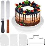 InnoGear Cake Turntable, Rotating Cake Stand with 2 Angled Palette Knifes, 3 Cream Scraper for Cake Making, Cake Decoration