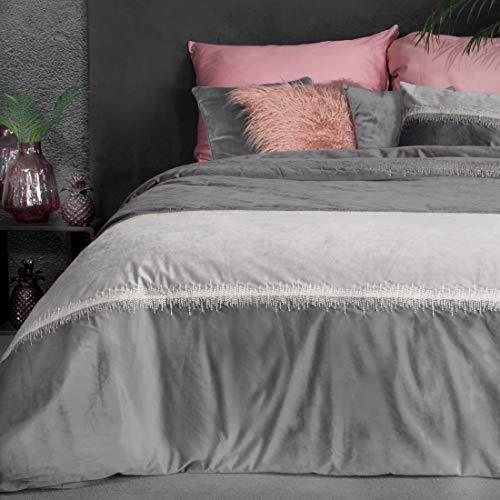 Eurofirany Bettüberwurf Velvet Samt Tagesdecke Decke Überwurf Metallnaht Elegant Edel Glamour Schlafzimmer Wohnzimmer Gästezimmer Lounge, Stahlgrau, 220x240cm