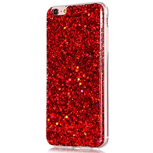 iPhone 6S Plus Case,iPhone 6 Plus Case,ikasus Luxury Sparkle 3D Bling Diamond Glitter Paillette Flexible Soft Rubber Gel TPU Protective Case Cover for iPhone 6 Plus/iPhone 6S Plus 5.5,Red