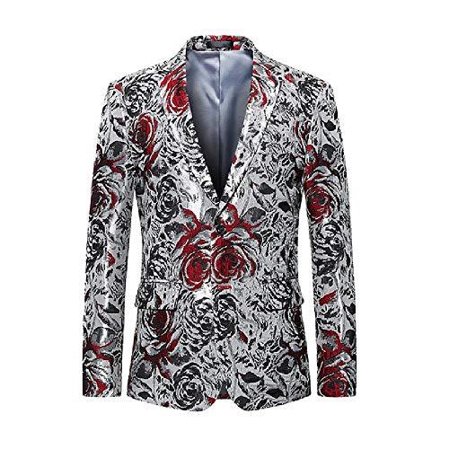 NObrand Blazer de Astilla Hombres Slim Fit Chaqueta de Blazer con Estampado Floral para Hombre Estilo británico Fiesta de graduación Traje de Boda Abrigos