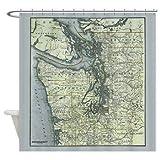 Ad4ssdu4 Duschvorhang, Landkarte mit Puget So& Washington, Landhausdeko, Badezimmer, Lernen, Kinderreisen, Pazifik, Nordwestländer, Landkarten