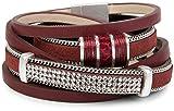 styleBREAKER Vintage Wickelarmband mit Strass, Gliederkette und Magnetverschluss, 3-Reihig, Armband, Damen 05040024, Farbe:Bordeaux-Rot