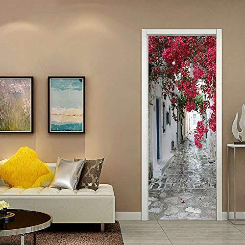 ZDDBD Sticker De Porte Trompe l'oeil Effet 3D Intérieure Muraux PVC Stickers Salle De Bain Cuisine Décoration Mur De Fleurs Rouges 90 * 200Cm