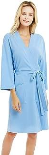 Kimono Bathrobe for Women with 3/4 Sleeves, Lightweight Cotton Short Robe Ladies Longewear for SPA Bathing Wedding
