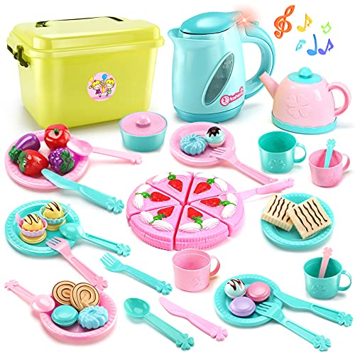 51 Pieces Kid Tea Party Set Play Food Kitchen Cooking Toys for Toddlers Girls Boys 3 4 5 6 7 Years Old Early Development and Educational Pretend Play Food Set