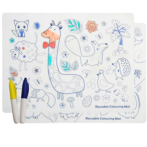 Silicone Placemats for Kids Coloring - Reusable Drawing Mat with Animals and Plant for Toddlers Erase Washable Waterproof Drawing Play Mats with 2 Makers (2 Pack)