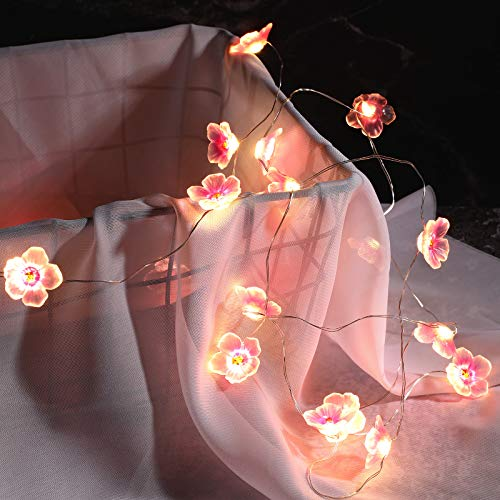 2 Pieces 6.6 Feet 20 LEDs Flower String Lights Fairy Pink Color Cherry Blossom String Lights Wire Battery Powered String Lights for Valentine's Day Wedding Nursery Girls Bedroom Decoration