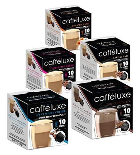 CaffeLuxe Single Dienen Verschiedene Prämie-Kaffeepads - Flache weiße, heiße Schokolade, Capuccino-Creme - Dolce Gusto-kompatible Pads (50 Pads, 50 Portionen)