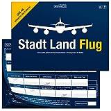 Stadt Land Flug Reisespiel - Handliches DIN A5 Format - Stadt Land Fluss Variante für Flugbegleiter, Piloten, Weltenbummler, Vielflieger - Lustiges, Cooles Gadget und Geschenk für...